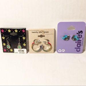 3 Sets Kitten, Rainbow Half Hoop, & Star Earrings
